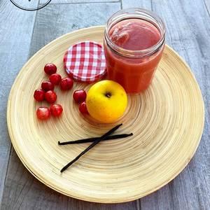 Compote pommes, cerises et vanille sans gluten