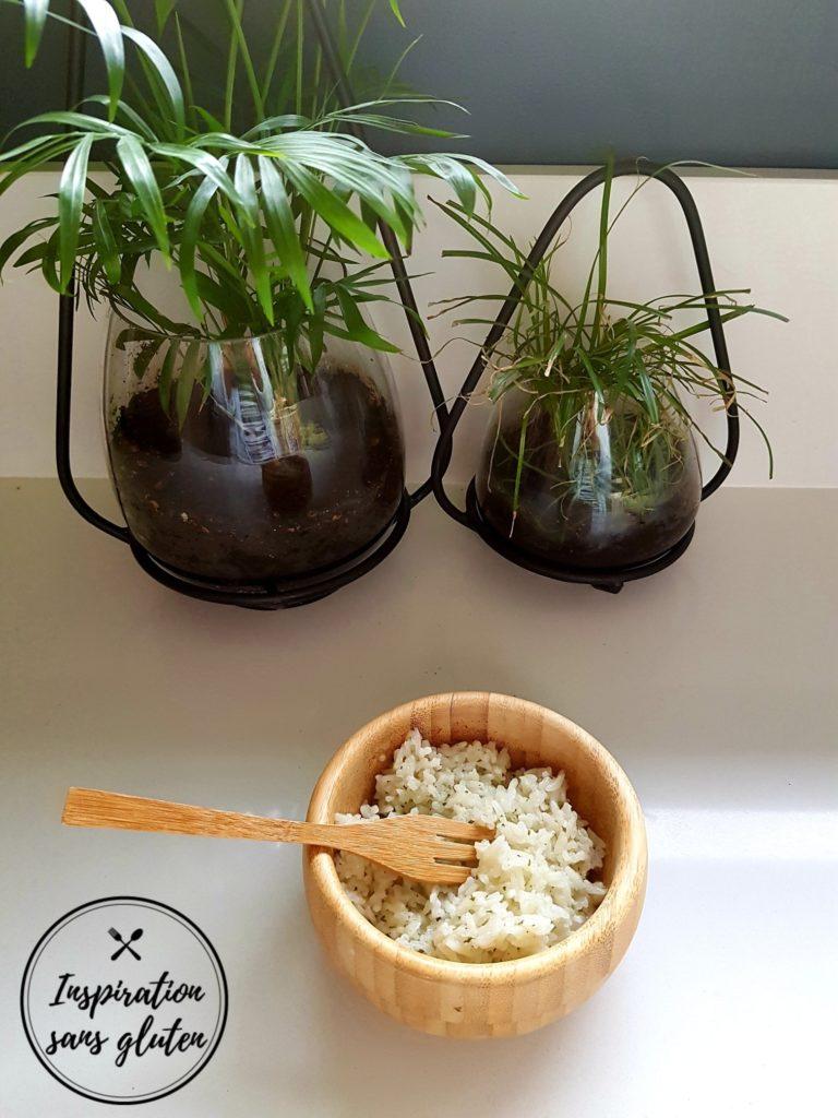 Riz façon pilaf lait de coco, ail et fines herbes sans gluten