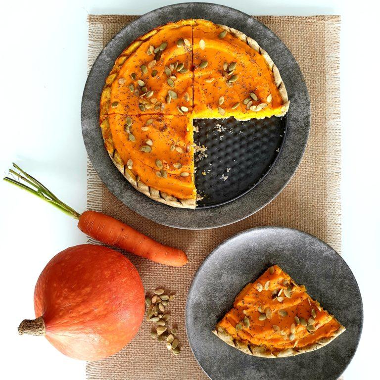 Tarte potimarron, carottes, pavot et graines de courge