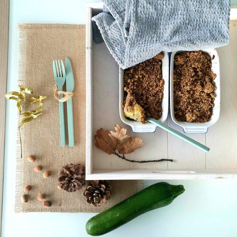 Crumble de courgettes à la noisette et au sarrasin
