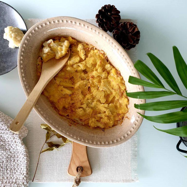 Gratin de chou-fleur, pommes de terre et jambon