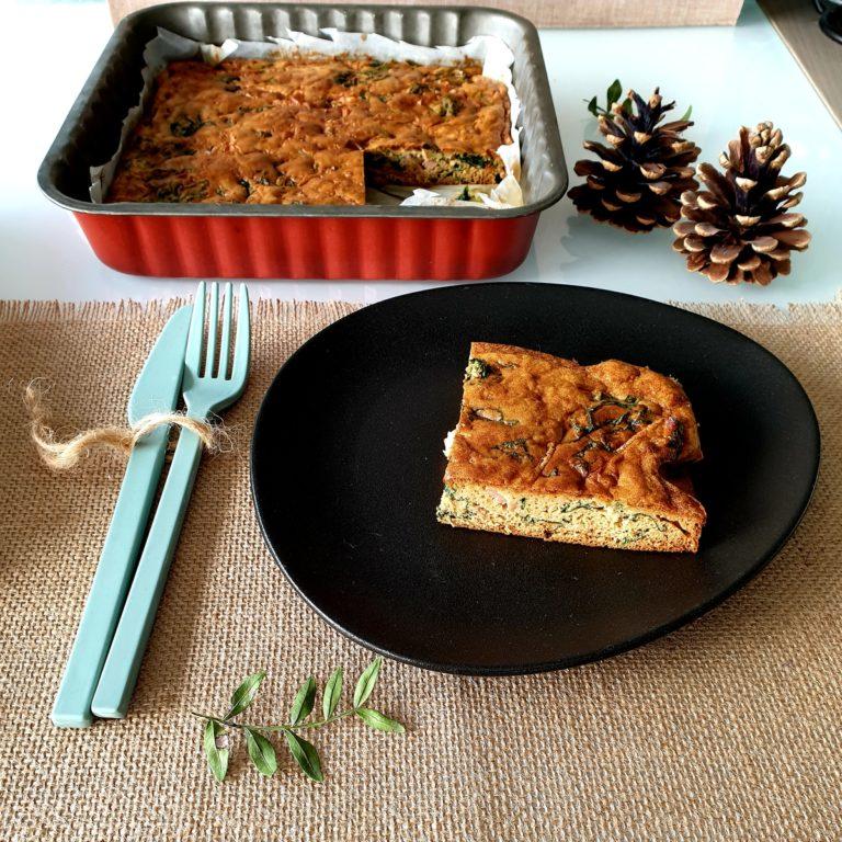 Clafoutis épinards, courgettes et jambon