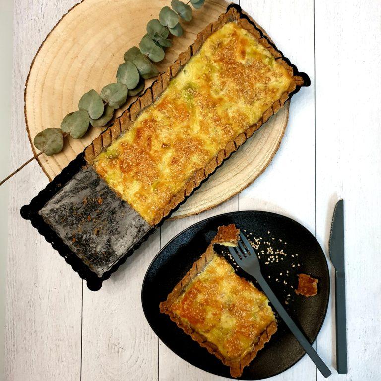 Tarte poireau et pâte maison au sésame