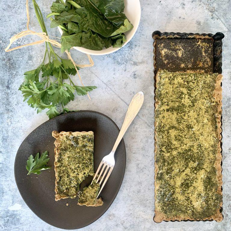 Green tart : farine de lentilles, épinards et persil