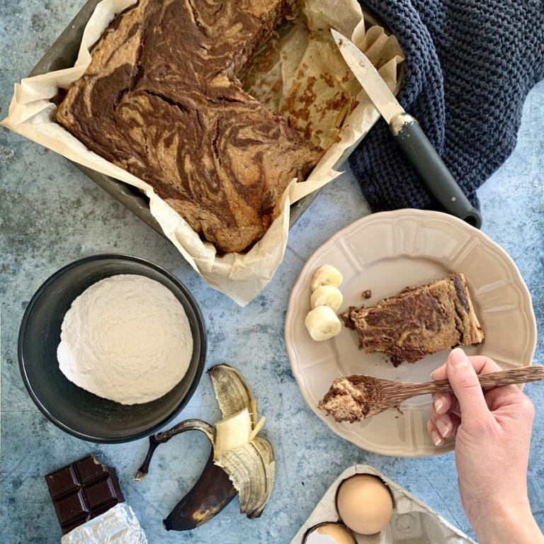 Brownie marbré banane chocolat
