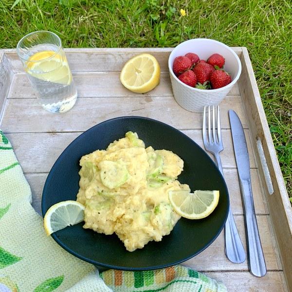 Polenta crémeuse courgette, menthe et citron