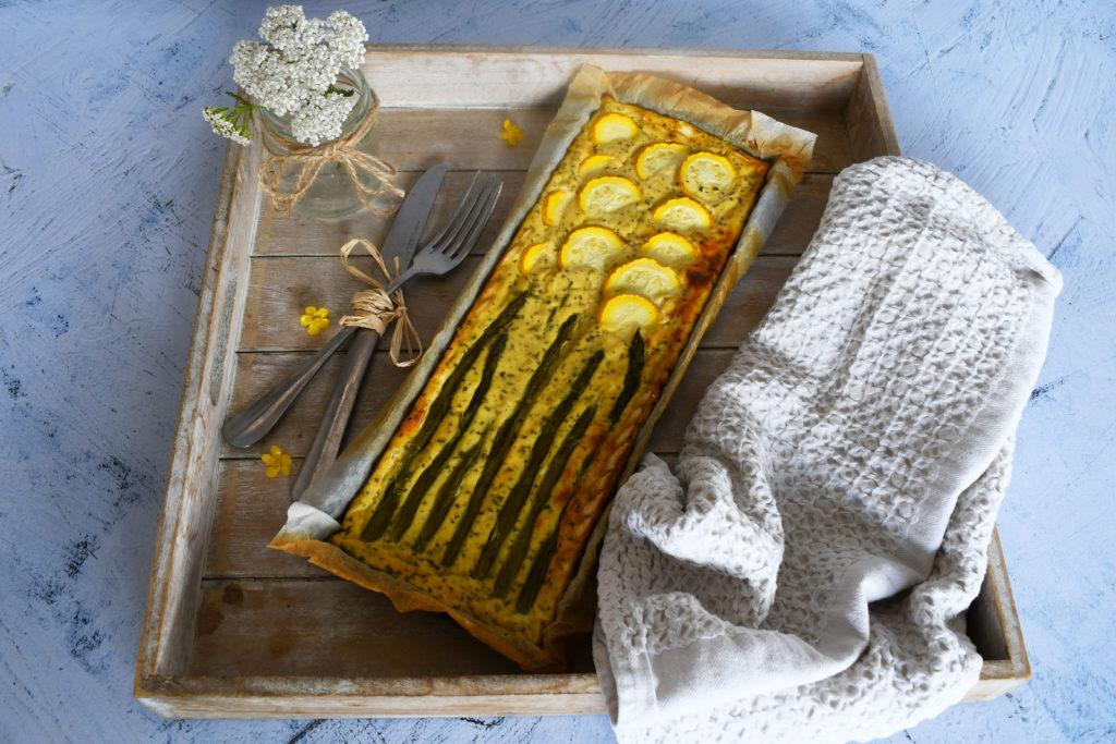 Tarte courgettes, asperges et menthe