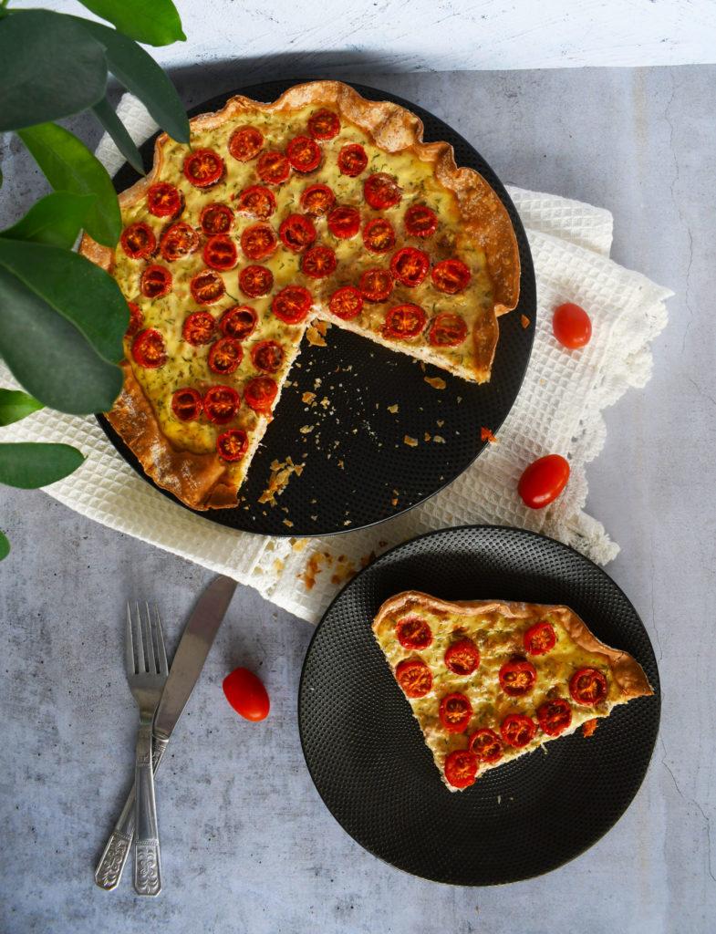 Tarte thon, tomates cerises et aneth